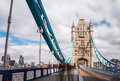 London tower bridge uk england is a combined bascule and suspension in over the river thames it is close to the of from Stock Image
