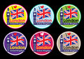 London travel icon set united kingdom big ben clock tower and flag design Royalty Free Stock Photography