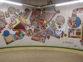 London tube england uk march work of art by edoardo paolozzi in a tunnel of the underground known as the Stock Images
