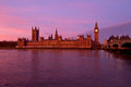 London twilight thames with big ben and westminster palace during in uk Stock Photos