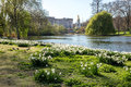 LONDON, UK - April 14, 2015:  Buckingham Palace and gardens in London in a beautiful day Royalty Free Stock Photo