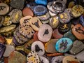 Collection of Native American Totem Stones. Semi precious stones and minerals. Royalty Free Stock Photo