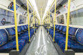 London uk april interior of empty northern line underground train april in london Stock Photography