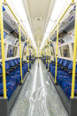 London uk april interior of empty northern line underground train april in london Royalty Free Stock Photo