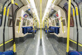London uk april interior of empty northern line underground train showing access doors april in london Royalty Free Stock Photos