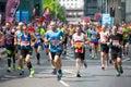 Lots of people running in London Marathon. London, UK Royalty Free Stock Photo