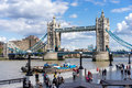 London uk august tower bridge in london on august unidentified people Stock Images