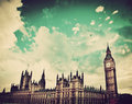 London the uk big ben the palace of westminster icon england in vintage retro style Stock Photo