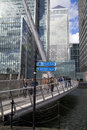 London uk canary wharf march modern glass buildings of biggest business district in view on canada tower from the bridge Royalty Free Stock Photography