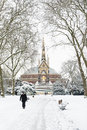LONDON, UK - JANUARY 21: Hyde Park covered in snow with Albert M Royalty Free Stock Photo