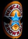 LONDON, UK - JANUARY 10, 2018- Bottle label of Newcastle Brown craft ale beer on black