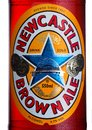 LONDON, UK - JANUARY 10, 2018- Bottle label of Newcastle Brown craft ale beer on white