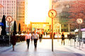 LONDON, UK - JULY 03, 2014: People walking to get to work at early morning in Canary Wharf aria Royalty Free Stock Photo