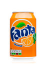 LONDON, UK - JUNE 9, 2017: Aluminum can of Fanta orange soda drink on white.produced by the Coca-Cola Company. Royalty Free Stock Photo