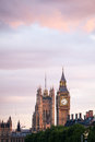 London uk london at dawn view from golden jubilee bridge during the blue hour Stock Photography
