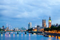 London uk london at dawn view from golden jubilee bridge during the blue hour Royalty Free Stock Images