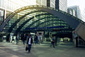 London uk march canary wharf business aria with more than working places tube entrance and early morning commuters Stock Photos