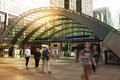 London uk march canary wharf business aria tube entrance and early morning commuters Stock Images