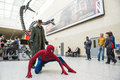 London uk may spiderman and doctor octopus cosplayers pos posing at the mcmexpo at the excel centre in Royalty Free Stock Photos