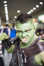 London uk october cosplayers dressed as an orc from game skyrim in the comicon at the excel centre s mcm expo in Royalty Free Stock Photo