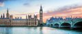 London uk panorama big ben in westminster palace on river thames at sunset beautiful Royalty Free Stock Photos