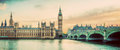 London, UK panorama. Big Ben in Westminster Palace on River Thames. Vintage Royalty Free Stock Photo