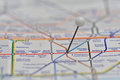 London Underground Map with pin in Oxford Circus Station Royalty Free Stock Photo