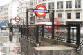 London underground station entrance Royalty Free Stock Photo