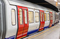 London underground train carriage waiting to depart Royalty Free Stock Photo