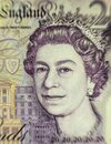 British pounds sterling with a portrait of Queen Elizabeth II. Money background Royalty Free Stock Photo
