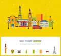 London, United Kingdom and France flat icons design travel concept. Royalty Free Stock Photo