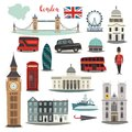 London vector illustration big collection. Cartoon United Kingdom icons: Royal Guard, Bridge Tower and red bus.