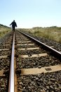 Lone female balances on railway line