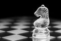 Lone knight transparent chess with copy space Stock Image