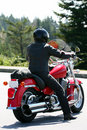 Lone Motorcycle Rider Royalty Free Stock Photo
