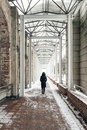 Loneliness woman walking on bridge. Royalty Free Stock Photo