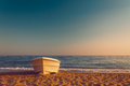 Lonely beach empty with boat Royalty Free Stock Photo