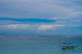 Lonely boat on the sea in Bali Royalty Free Stock Photo