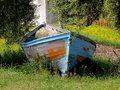 Lonely boat years of tiredness now a quiet and life Stock Photography