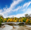 Lonely bridge stone over autumnal scene in munich Royalty Free Stock Photos