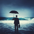 Lonely Businessman Alone Anxiety Beach Concept Royalty Free Stock Photo