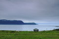 Lonely cabin wooden on the shore in nordic landscape Royalty Free Stock Photography