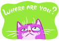 Lonely cat vector illustration.