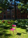 Lonely chair in harvard courtyard Stock Images