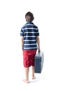 Lonely child with suitcase going away isolated on white Royalty Free Stock Photography