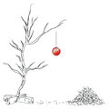 Lonely christmas ball on the tree chipped vector drawing hand Royalty Free Stock Photos