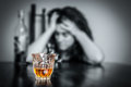 Lonely and desperate drunk hispanic woman alcohol addiction portrait of a image focused on her drink Stock Images