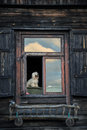 Lonely dog looking through his window to the Royalty Free Stock Photography