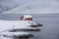 Lonely fishing house of Lofoten Royalty Free Stock Photo
