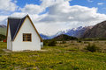 Lonely house in big mountains, el chalten, patagonia Royalty Free Stock Photo
